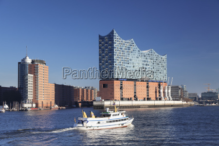 excursion boat on elbe river elbphilharmonie