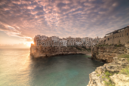 pink sunrise on the turquoise sea