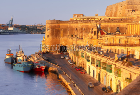 ancient fortifications of valletta at dawn