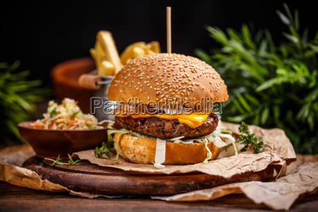 delicious cheeseburger whit cabbage