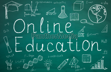online education text on green chalkboard