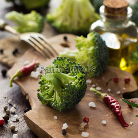 fresh green broccoli and vegetables