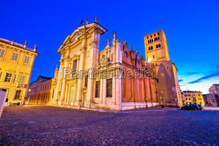 mantova city piazza sordello and cathedral