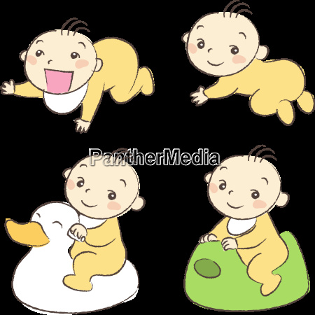 set of babies various poses and