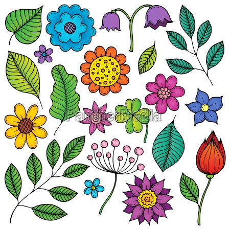 drawings of flowers and leaves theme
