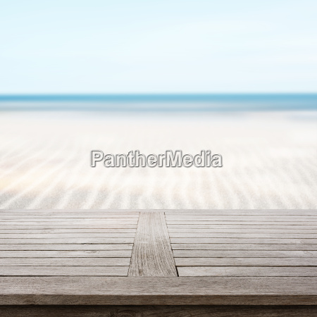 wooden table on beach
