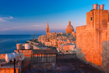 domes and roofs at sunset valletta