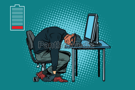 sleeping african hacker at the computer