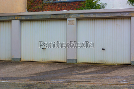 car garage with bright metal gates