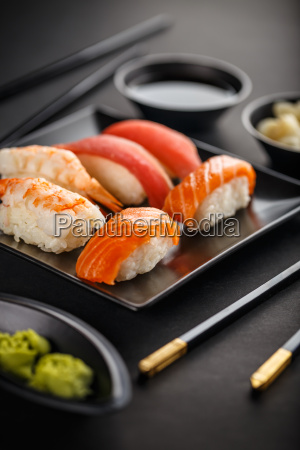 sushi plate with chopsticks