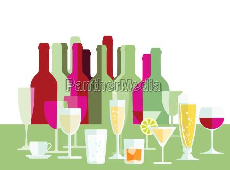 getraenke wein champagner flaschen glaeser