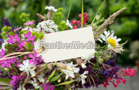 colorful bouquet with meadow flowers and