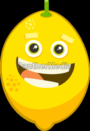 cartoon lemon fruit character