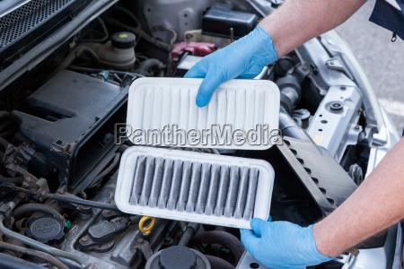 motorluftfilter dreckig und sauber