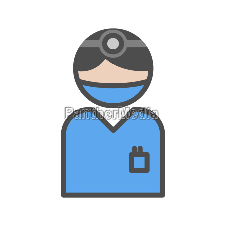 chirurgen ikone mit blauer uniform im