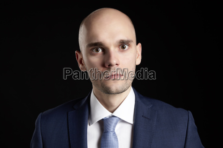 bald frustrated man