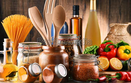 composition with assorted food products and