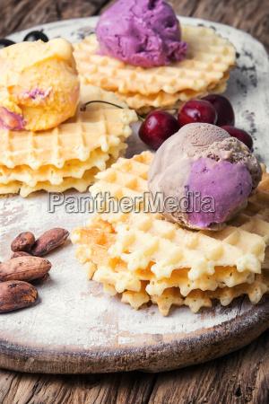 ice cream on waffles