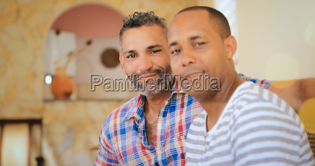 portrait happy gay couple homosexual men