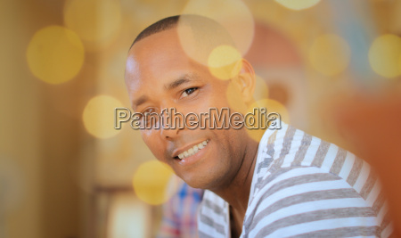 portrait happy homosexual man looking at