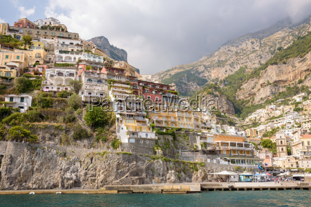 buildings of positano town in italy