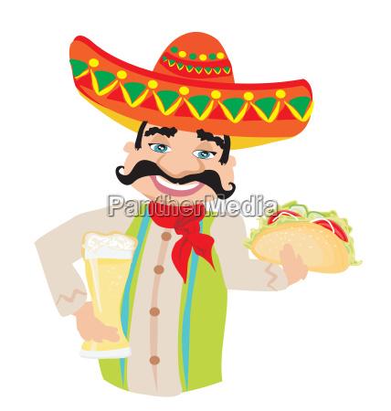 mexikanische mann haelt ein kaltes bier