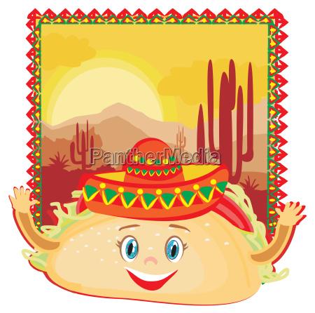 lustige charakter tacos mexikanische rahmenkarte
