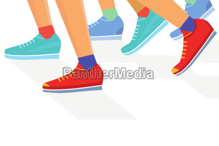 laeufergruppe jogging illustration