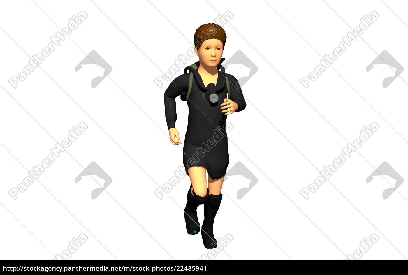 schulmädchen, mit, rucksack, freigestellt - 22485941