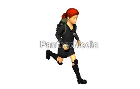 schoolgirl freed with backpack