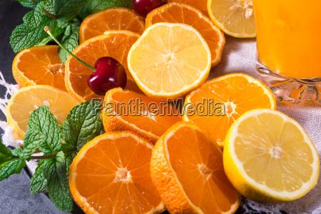 orange lemonade with lemon and mint