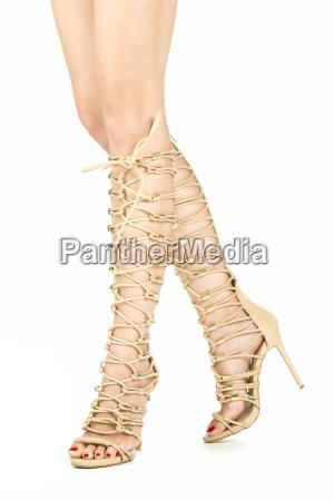 legs with high heels summer boots