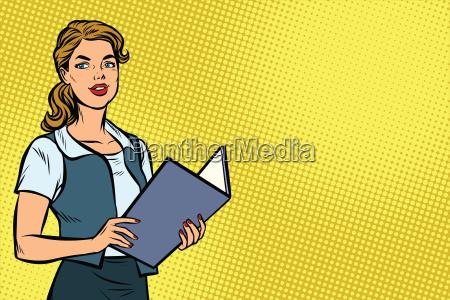 female secretary pop art illustration