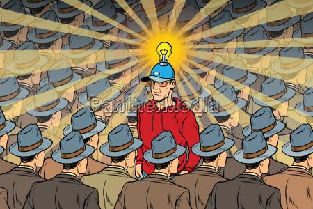 idea man in dull crowd