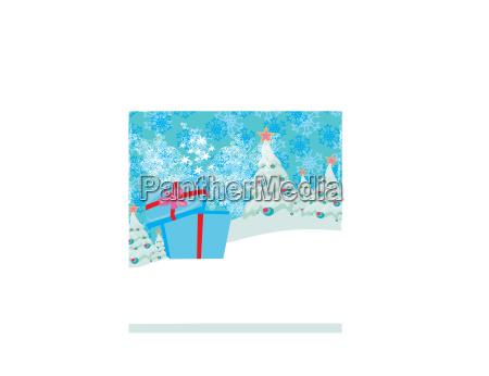 abstrakte weihnachtskarte mit einem ueberraschungsgeschenk und