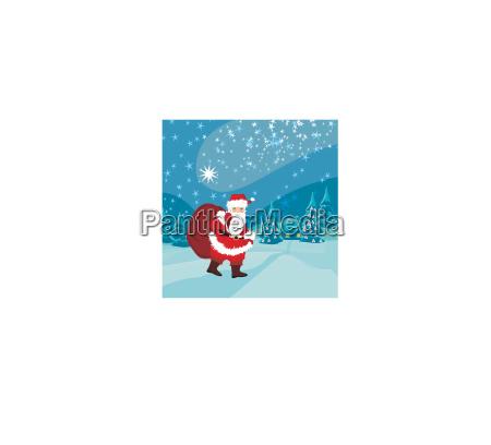 weihnachtsmann mit einem sack voll geschenke
