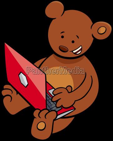 bear with notebook cartoon illustration