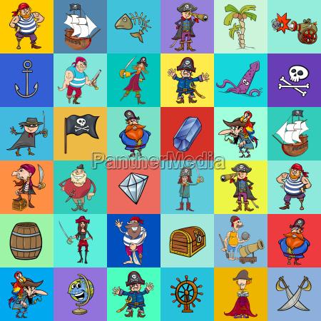 dekoratives musterdesign mit piraten