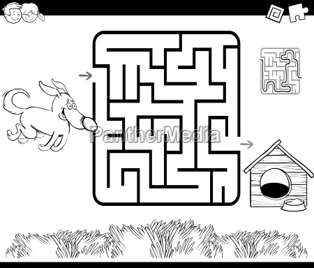 maze with dog and kennel coloring
