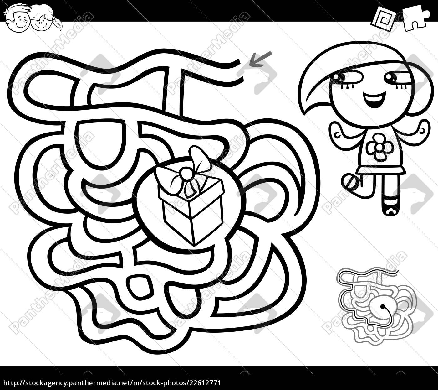 labyrinth, mit, mädchen, und, geschenk, ausmalbilder - 22612771
