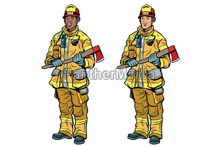 african american and caucasian firemen in