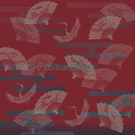 illustration traditionell japanisch kranich vorlage japaner