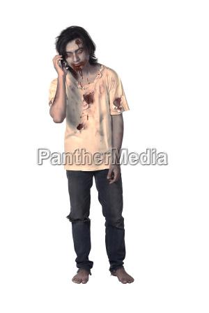 scary maennlichen zombie sprechen ueber handy