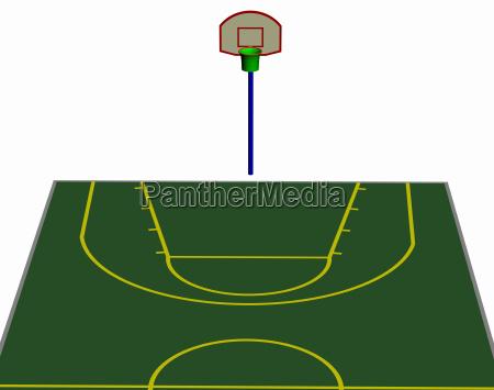 basketballfeld mit wurfkoerben freigestellt