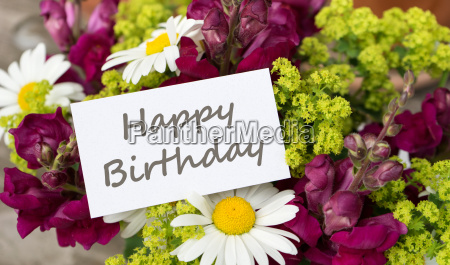 birthday card with snapdragons and daisies