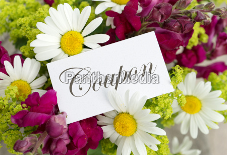 voucher with snapdragons and daisies