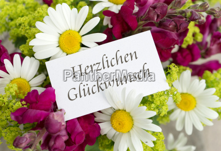 greeting card with snapdragons daisies and