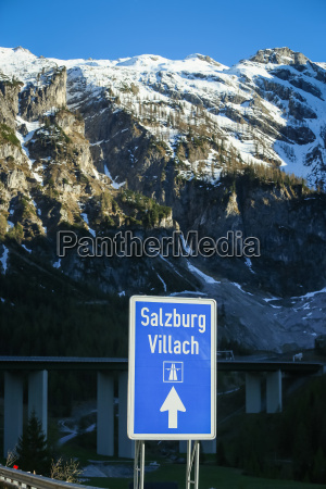 road sign on highway in austria