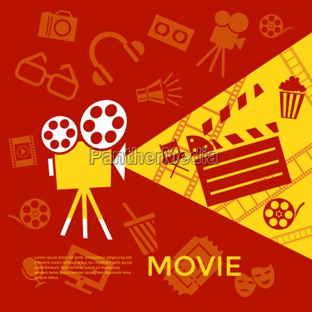 digital vector red yellow cinema icons