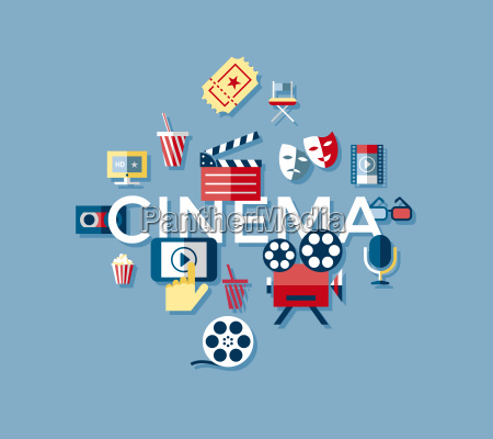 digital vector blue cinema icons with
